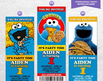 Cookie Monster Invitation, Cookie Monster Invite, Cookie Monster VIP Pass, Ticket Invitation, Digital or Printed Invitation