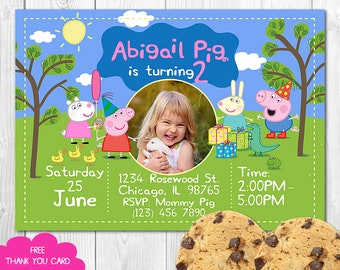 Peppa Pig Invitation With Photo Invites Birthday Personalized Invite
