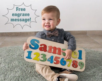 Name Puzzle Personalized Baby Gift Wooden Toy Christening First Birthday Baptism