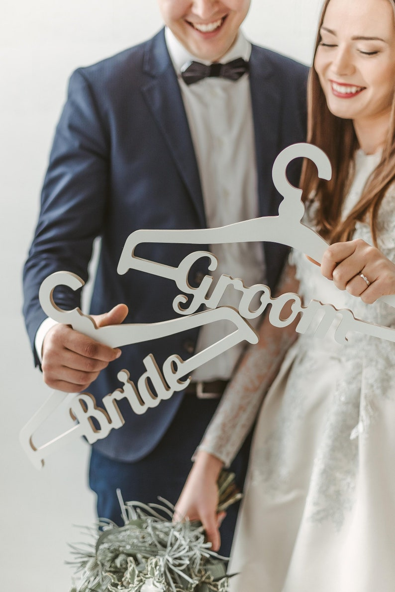 Groom Hanger for Tuxedo or Suit Wooden and Wire Hangers for Bridal Party
