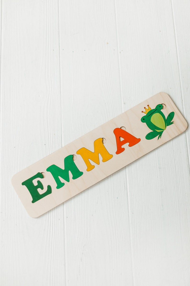 children personalised toy,Wooden Jigsaw Puzzle,educational toys,second Birthday baby girl prince toy Custom name puzzle with frog prince