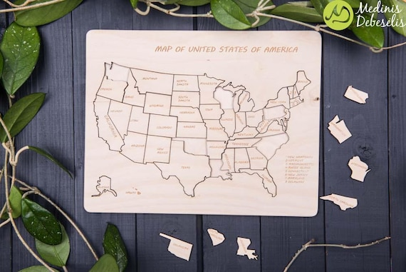 US map wood, USA map, wooden states, wooden map, us map wall art, united states map, united states puzzle, new home gift