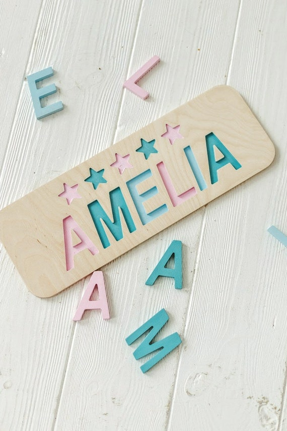 Woodily Wooden Name Puzzle Girl Toy for Toddler Baby Gift Personalized 1st Birthday Girl Montessori Toys Baby Shower Christmas Gift