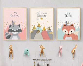 Woodland nursery, Nursery print set, Forest friends, Forest animal print, Nursery Art, Nursery forest decor, Fox, Raccoon, Mountains, Giclee