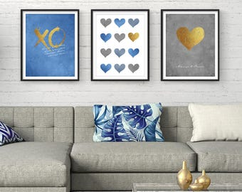 Wall Art Prints, Printable Art, Set of 3, Digital Prints, Bedroom Wall Art, Blue, Grey, Gift For Her, Typography Print, Wall art, Printables
