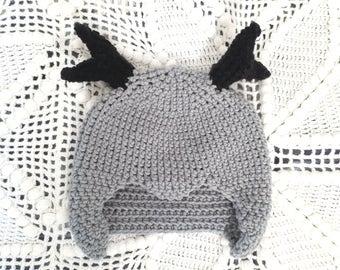 Deer antlers hat, Deer hat, Christmas hat, Antlers hat, Gift for kids, Toddler hat, kids hats, Crochet hat, Winter hat, Knit hat, Boy hats