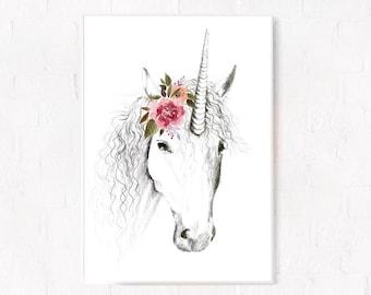 Nursery wall art, Unicorn decor, Nursery print, Nursery unicorn, Girl Nursery, Drawing, Horse, Pencil drawing, Illustration, Nursery, Giclee