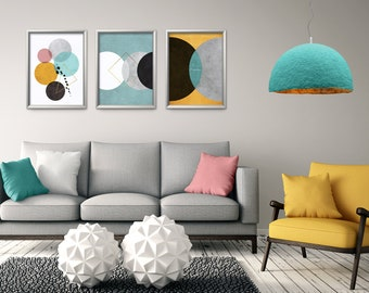 Home Decor Modern Wall Art Set Of 3 Prints Office Print Living Room Abstract Minimalist