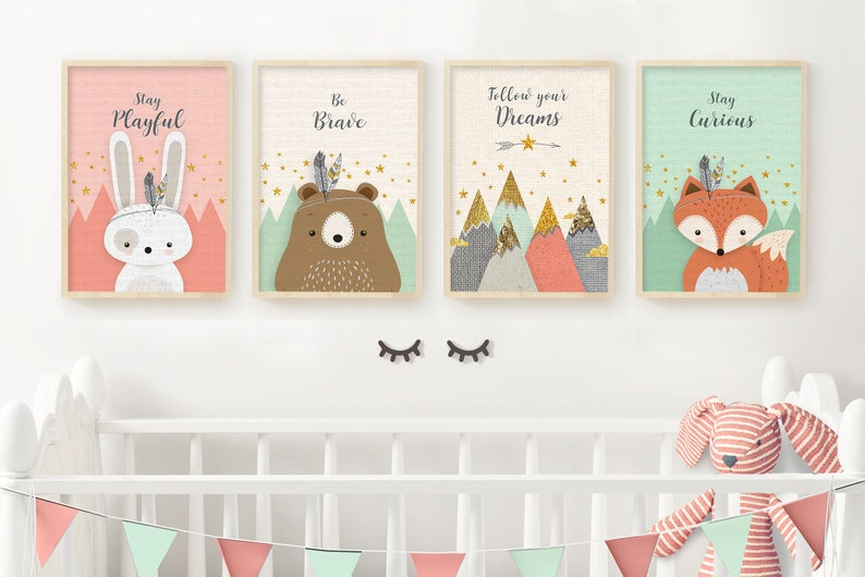 graphic about Printable Woodland Animals named Printable woodland pets print established for nursery gender impartial