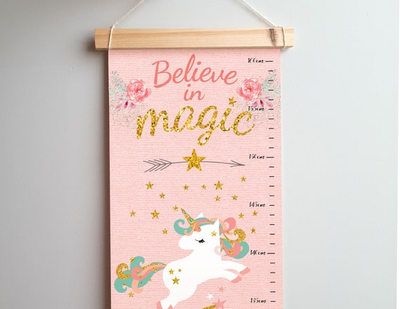 Unicorn Growth Chart Girl Nursery Decor New Baby Girl Gift Etsy
