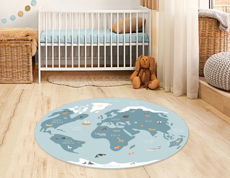 Tapis vinyle carte du monde avec des animaux mignons - Créatrice ETSY : EliorDécor
