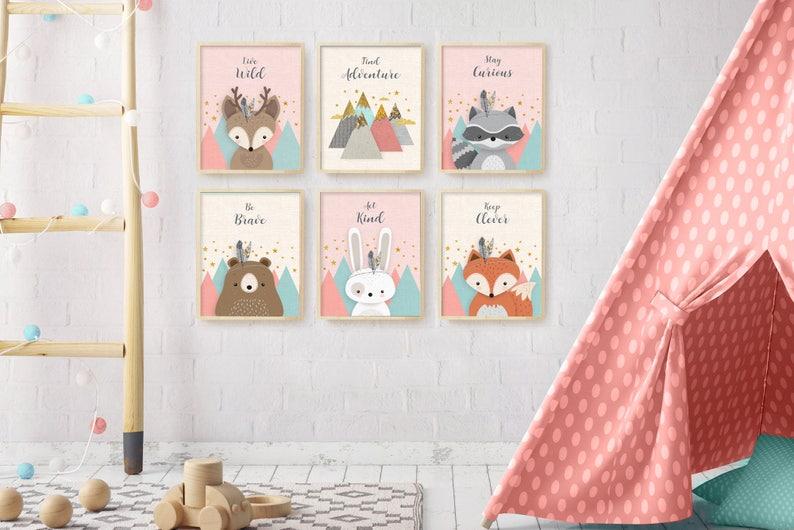 Affiches mignonnes animaux des bois - Créatrice ETSY : EliorDécor