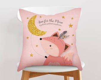 Girl pillow cover, Woodland nursery throw pillow, Girl nursery pillow, Decorative pillow, Throw pillow, Cushion cover, Fox pillow, Girl gift