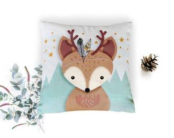 Kids gift, Deer Pillow, Woodland nursery pillow, Reindeer pillow, Throw pillow, Cushion cover, Babies gift, Deer pillow cover, Boy nursery