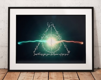 Deathly Hallows Typographic Art, Harry Potter Priori Incantatem Poster, Wall Art Magic