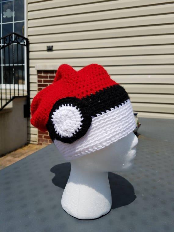 Crochet Pokemon Pokeball Slouch Hipster Beanie Hat  108bd72310b9