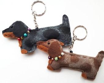 Dachshund Sausage Dog Bag Charm / Keyring / Dapple Chocolate and Silver