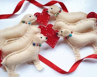Handmade Labrador Garland/Bunting/Gift/Hanging - Yellow/Golden Retriever - Christmas
