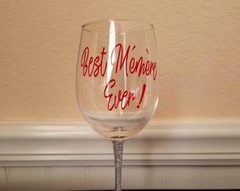 Best Memere ever! wine glass, Personalized wine glass, Grandma Wine glass with Glitter stem, Grandma gift, Best grandma ever in french