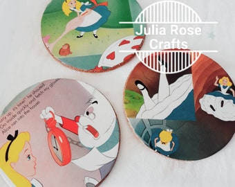 Set of 3 cork coasters made from re-purposed children's book