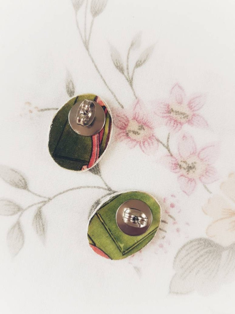 Earrings genuine upcycled OOAK retro image  stud earrings  upcycled jewelry  Eco-friendly jewellery  Eco-friendly  recycled materials