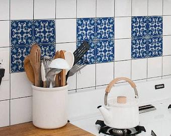 Tegel Decoratie Stickers : Portugese tegels etnische azulejo tegels repositionable etsy