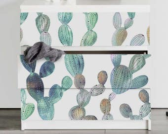 Decals for MALM Dresser, ikea, Cactus Watercolor PACK OF 3, Commode, Furniture, Diy, Peel and stick, Self adhesive, Exotic, Removable #11M