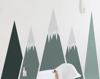 Self adhesive, Mountains wall decal, Removable wall decor for kids room, Nursery, Repositionable, Peel and Stick wall decor, Sticker #47
