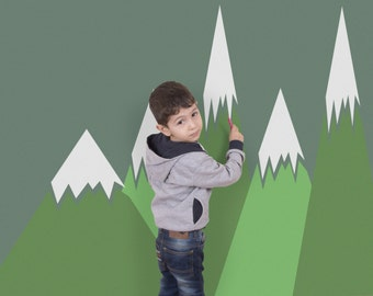 Green mountains wall decal, Removable wall decor for kids room, nurseries, Peel and Stick, Self adhesive wall sticker #56