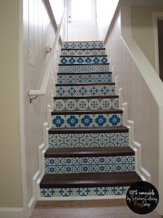 10 Step Stair Riser Decal White And Blue Decorative Tiles | Etsy
