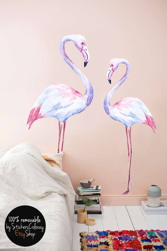 White Flamingo Wall Decal Birds Wall Decor Nature Wall Etsy