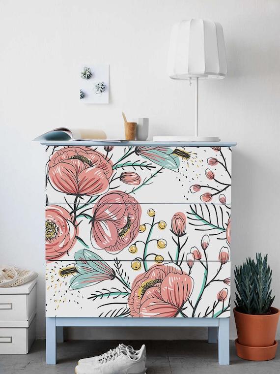 Malm Kommode Ikea Vintage Garten Aufkleber Pack 3 Blumen Etsy