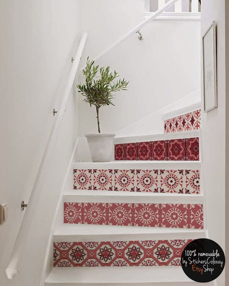 10 Step Stair Riser Decal, Red And White Decorative Tiles Stair Sticker,  Removable Stair Riser Decor Strip, Peel U0026 Stick Stair Riser #14R