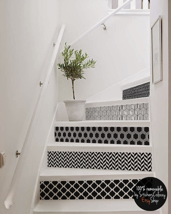 Geometric Stairs Geometric Staircase Melbourne: 10 Step Stair Riser Decal Geometric B&W Patterns Stair