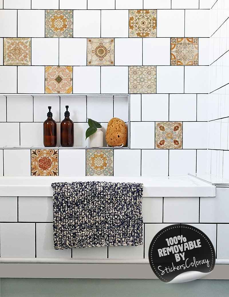 Spanish Tile Stickers PACK OF 24 Old Wall Style Removable | Etsy