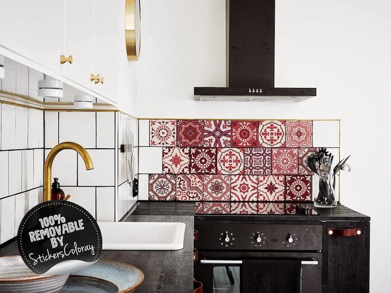 M m rode zelfklevende behang pvc stickers keuken mozaek