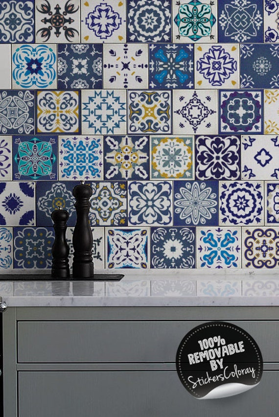 Ornamental PACK OF 24 Tiles Decoration Peel and Stick #2T Tile Decal Moroccan Removable Ornamental Blue Azulejo Tile Stickers