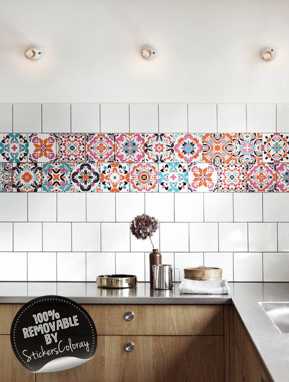Mexican Tile Stickers Pack Of 24 Colorful Backsplash Etsy