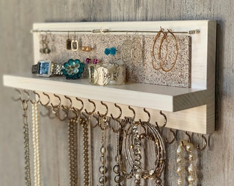 """14"""" Rustic White Jewelry Organizer Holder with Silver Hooks - Wall Mounted Wood, Necklaces Bracelets Earrings"""