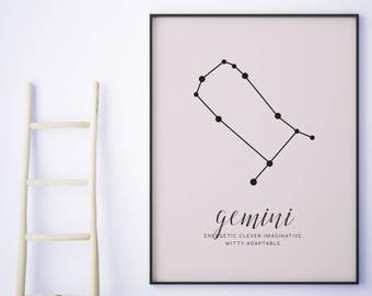 Gemini, Constellation Print, Zodiac Constellation, 8x10 print, Astrology Prints, Bedroom Prints, Printable Artworks, Purple, Gemini Decal