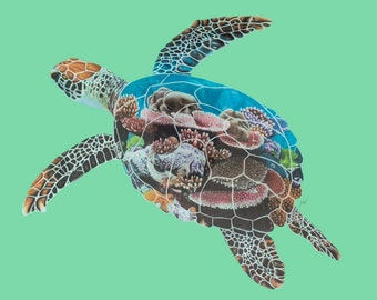Reef Traveller - Coral Turtle Drawing Print by Megan Wolthers