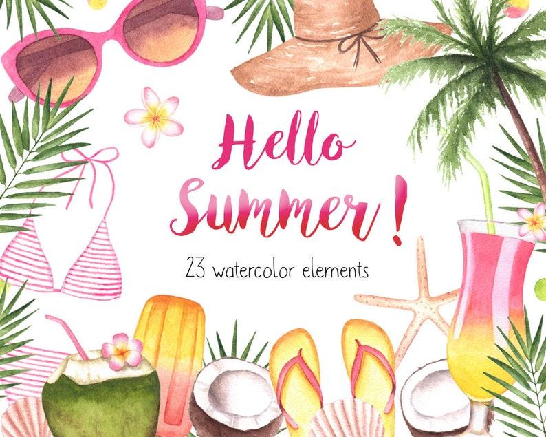 Beach Clipart,Watercolor Clipart,Summer Watercolor Clipart,Pool Party Clipart,Tropical Party,Beach Party Invitation Clipart,Tropical,Bikini