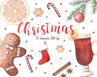 Christmas Watercolor Clipart, New Year Clipart, Watercolor Clipart, Gingerbread Clipart, Lollipop Clipart,Christmas Party Invitation