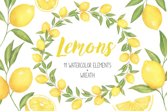 bridal invitations wedding Hand Painted Digital Lemon Watercolor Clipart tropical pastel teal citrus fruit green yellow