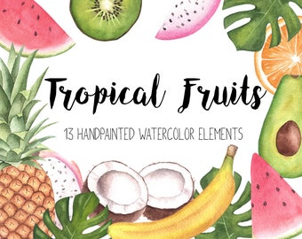 Tropical Clipart,Watercolor Clipart,Tropical Fruits Clipart,Summer Watercolor Clipart,Exotic Clipart,Tropical Party Clipart Invitation