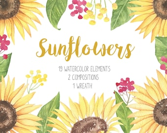 Sunflower Clipart, Sunflower Watercolor, Sunflower Wedding Invitation, Sunny Flowers Watercolor, Watercolor Bouquet, Floral Wreath Sunflower