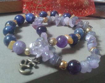 """pouch double bracelet """"cosmic sound"""" in Amethyst, Sodalite and amber"""
