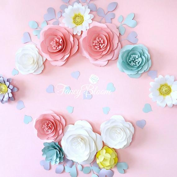 Unicorn paper flower set paper flowers wall decor large etsy image 0 mightylinksfo