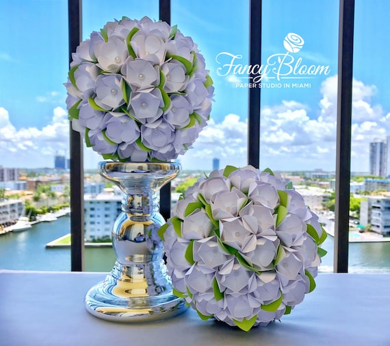 Kissing ball for wedding 7in paper flower pomanderflower etsy image 0 mightylinksfo