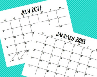 Blackline Printable Calendar || 2017-2018 || INSTANT DOWNLOAD